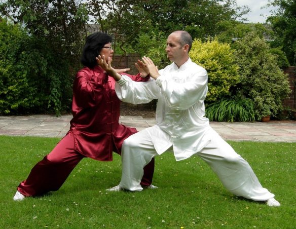Davidine Sim and David Gaffney practising push hands